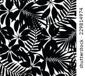 Black And White Tropical Leave...