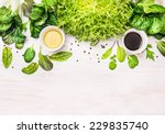Green Herbs Mix Salad With...