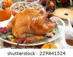 Roasted Turkey On A Server Tra...