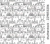 Stock vector christmas cats seamless pattern 229853206