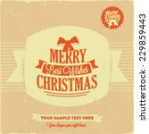 retro vintage merry christmas... | Shutterstock .eps vector #229859443