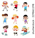 group of sport kids | Shutterstock .eps vector #229861198