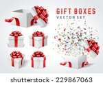 open gift boxes and with red... | Shutterstock .eps vector #229867063