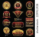 anniversary golden label... | Shutterstock .eps vector #229911928