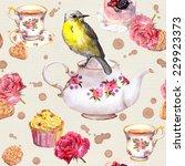 Cute Bird On Tea Pot. Tea Cup ...