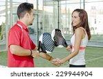 handshake of paddle tennis... | Shutterstock . vector #229944904