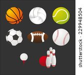 sports balls and equipment... | Shutterstock .eps vector #229948504