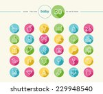 baby shower colorful flat icons ...