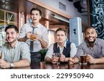 four men fans drinking beer and ... | Shutterstock . vector #229950940