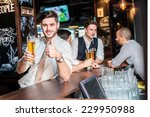 great beer. three cheerful... | Shutterstock . vector #229950988