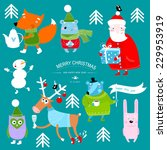 vector christmas set with... | Shutterstock .eps vector #229953919