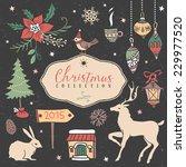christmas set of hand drawn... | Shutterstock .eps vector #229977520