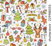 cartoon christmas seamless... | Shutterstock .eps vector #229988353