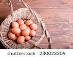 Brown Eggs In A Wicker Basket...
