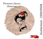 japanese woman wearing kimono... | Shutterstock .eps vector #230029048