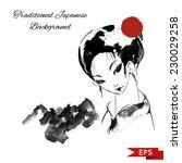 japanese woman wearing kimono... | Shutterstock .eps vector #230029258