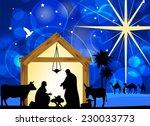 nativity scene with holy family....   Shutterstock .eps vector #230033773
