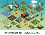 isometric building farm village ...   Shutterstock .eps vector #230036758