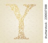 gold font type letter y ... | Shutterstock .eps vector #230037388