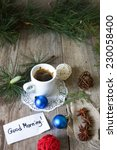 cup of christmas coffee on... | Shutterstock . vector #230058400