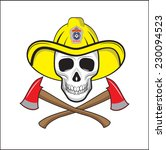 firefighter skull with ax   Shutterstock .eps vector #230094523