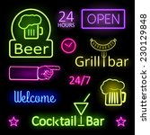 assorted glowing colorful neon... | Shutterstock .eps vector #230129848