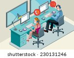 man and woman with computer ... | Shutterstock .eps vector #230131246