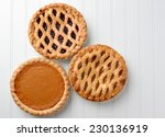 high angle shot of three pies ... | Shutterstock . vector #230136919