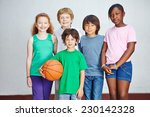 smiling group of children in... | Shutterstock . vector #230142328