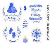 winter labels. hand painted... | Shutterstock .eps vector #230147296