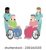 female nurse with wheelchair... | Shutterstock .eps vector #230163103