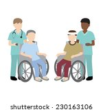 male nurse with wheelchair... | Shutterstock .eps vector #230163106