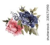 bouquet of peonies  watercolor  ... | Shutterstock . vector #230171950