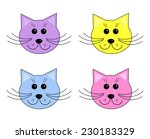four cute cartoon cat heads... | Shutterstock . vector #230183329