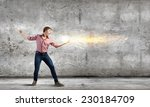 young man in casual throwing... | Shutterstock . vector #230184709