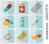 Постер, плакат: Medicine drugs flat icons