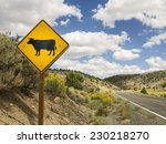 Cow Warning Road Sign