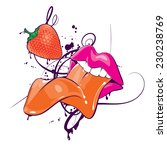 lips with strawberry abstract... | Shutterstock .eps vector #230238769