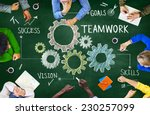 group of people with gear symbol | Shutterstock . vector #230257099