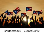 group of people waving flag of... | Shutterstock . vector #230260849
