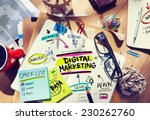 office desk with tools and... | Shutterstock . vector #230262760