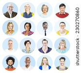 portrait of diverse people and... | Shutterstock . vector #230270860