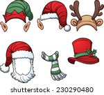 christmas hats and scarf.... | Shutterstock .eps vector #230290480