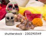 Black Skulls Among Orange...
