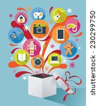 gift box with gift icons | Shutterstock .eps vector #230299750