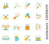 icons set   party objects | Shutterstock .eps vector #230308159