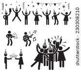 people party symbols b w | Shutterstock .eps vector #230308210