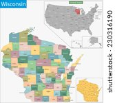 map of wisconsin state designed ... | Shutterstock .eps vector #230316190