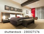 Stock photo modern bedroom interior in the evening 230327176