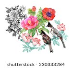 birds on branch with flowers on ... | Shutterstock .eps vector #230333284